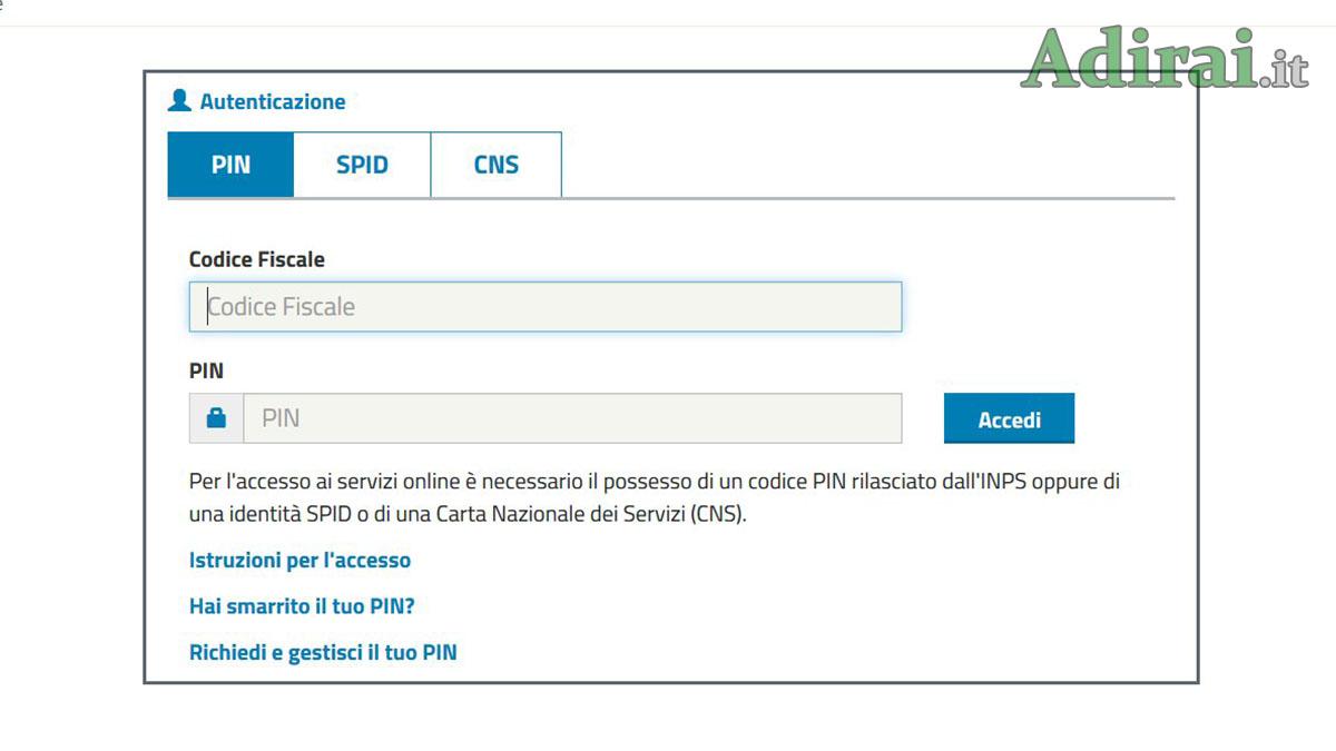 inps login come accedere come richiedere pin inps