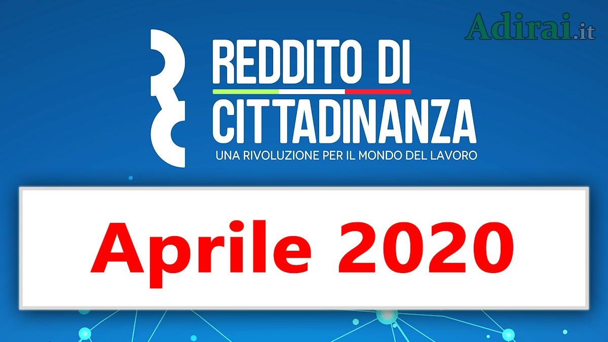 reddito di cittadinanza pagamento aprile 2020 data ricarica