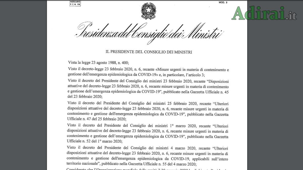 dpcm gazzetta ufficiale decreto coronavirus 8 marzo 2020
