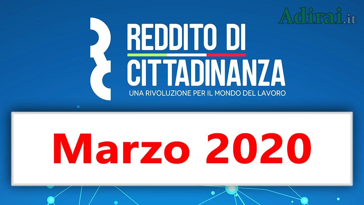 pagamento reddito di cittadinanza marzo 2020 ricarica carta RdC
