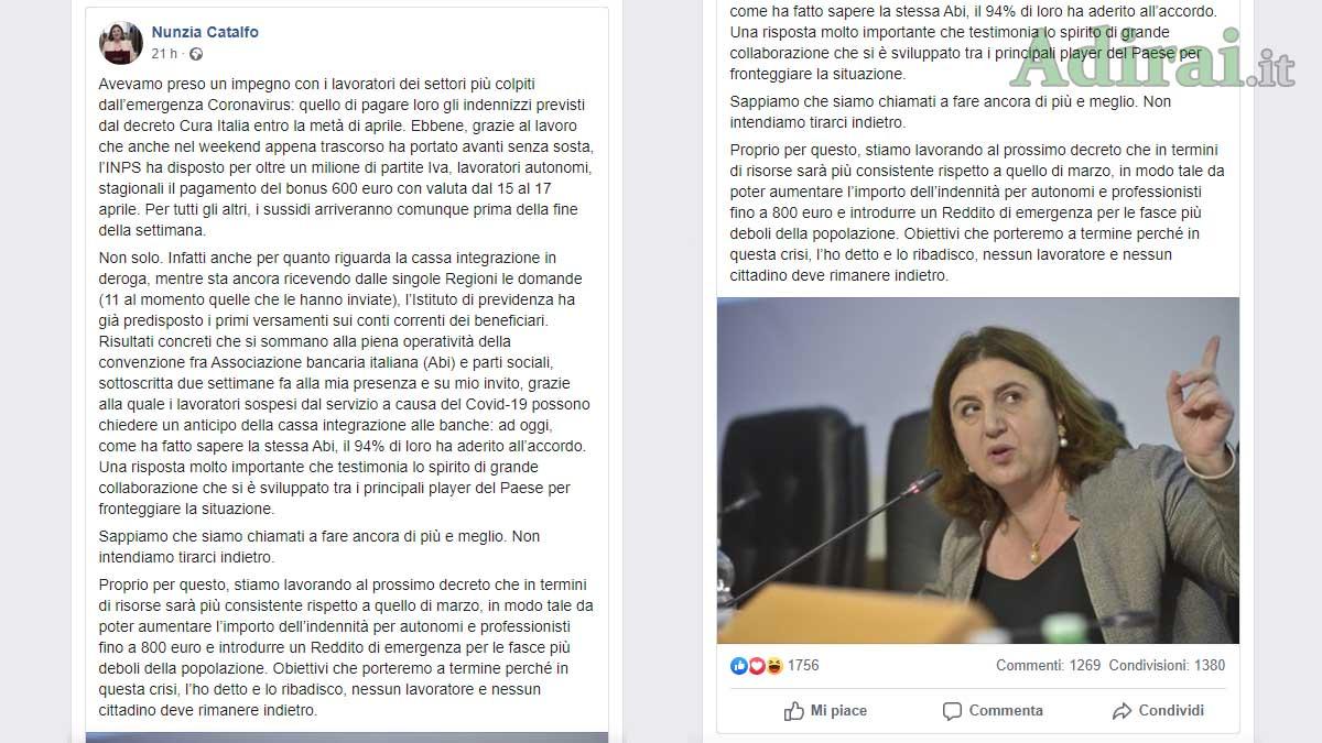 bonus 600 euro nunzia catalfo facebook