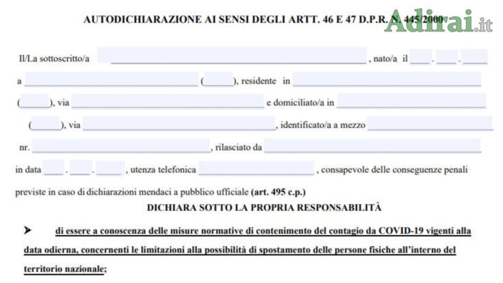 nuovo modulo autocertificazione pdf editabile dpcm ottobre