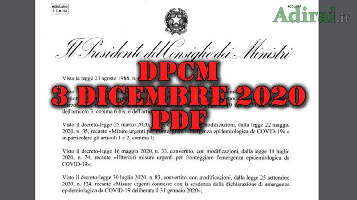 dpcm 3 dicembre 2020 pdf gazzetta ufficiale spostamenti scuola congiunti negozi