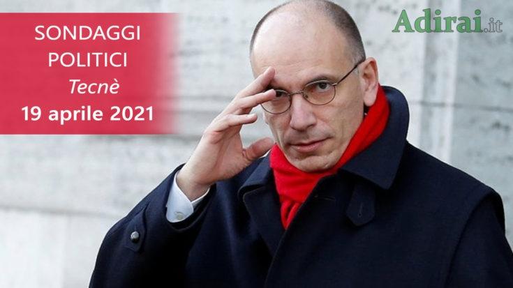 ultimi sondaggi politici 19 aprile 2021 tecnè - intenzioni di voto per tutti i partiti italiani