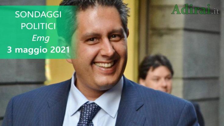 ultimi sondaggi politici 3 maggio 2021 emg - intenzioni di voto per tutti i partiti italiani