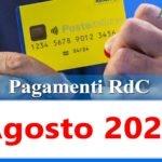 Reddito di cittadinanza pagamento Agosto 2021 ricarica RdC