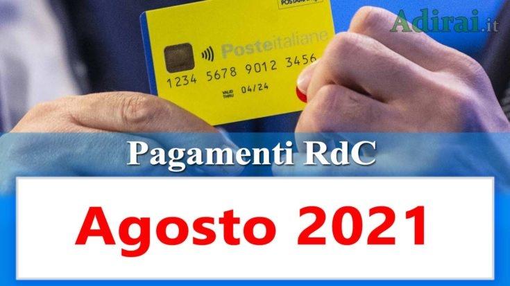 reddito di cittadinanza accredito pagamenti agosto 2021 pagamento ricarica RdC