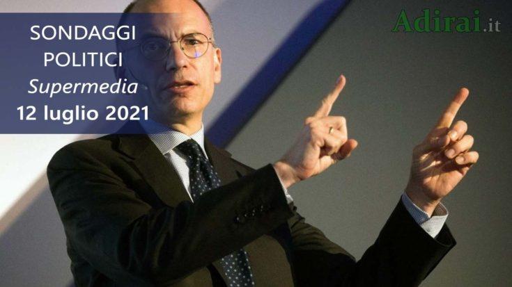 ultimi sondaggi politici 12 luglio 2021 supermedia youtrend - intenzioni di voto di tutti i partiti italiani