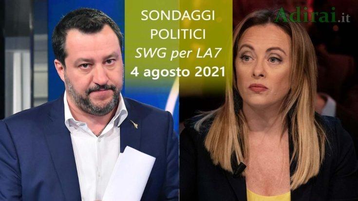 ultimi sondaggi politici 4 agosto 2021 swg per la7 - intenzioni di voto di tutti i partiti italiani