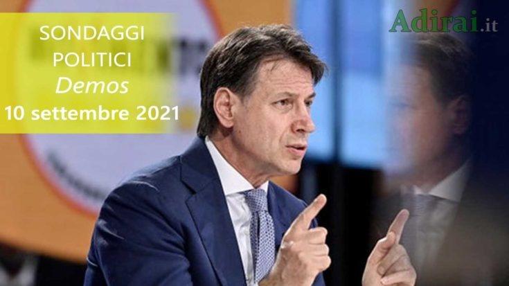 ultimi sondaggi politici 10 settembre 2021 demos - intenzioni di voto di tutti i partiti italiani