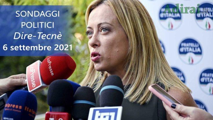 ultimi sondaggi politici 6 settembre 2021 dire tecne - intenzioni di voto di tutti i partiti italiani